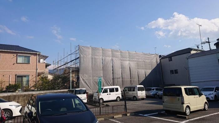 山科区御陵の新築マンションの地足場~2Fまでの組立状況4