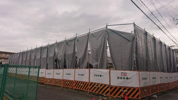 京都市内の市営住宅の解体足場3