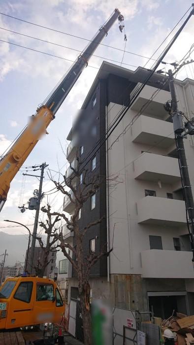 山科区椥辻の新築マンション足場解体作業5