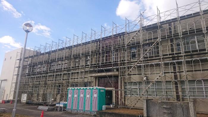 京都宇治の浄水場の管理棟改修足場3