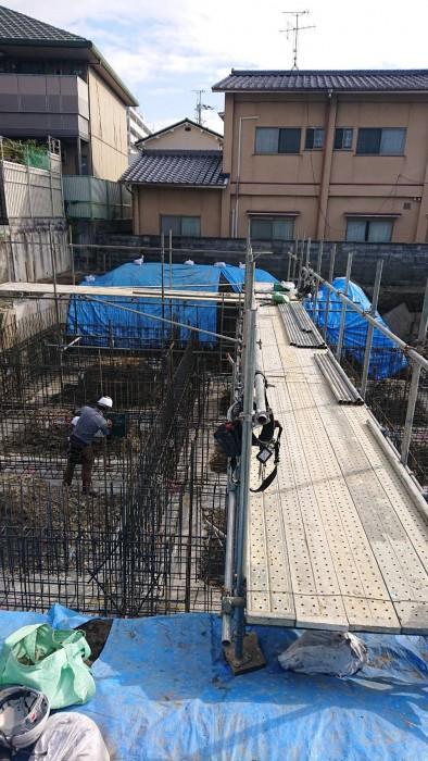 山科区御陵の新築マンションの地足場~2Fまでの組立状況2