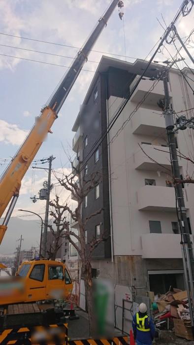 山科区椥辻の新築マンション足場解体作業6