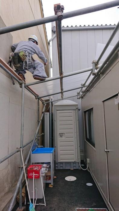 お世話になってる会社の新倉庫内での簡易屋根組立2