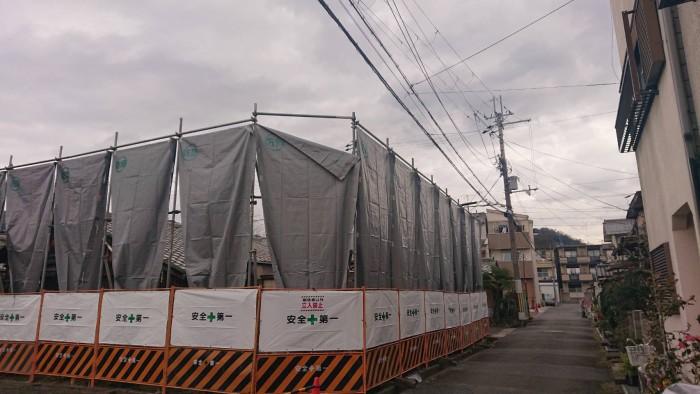 京都市内の市営住宅の解体足場4