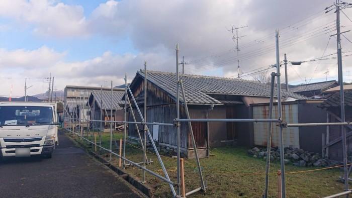 京都市内の市営住宅の解体足場2