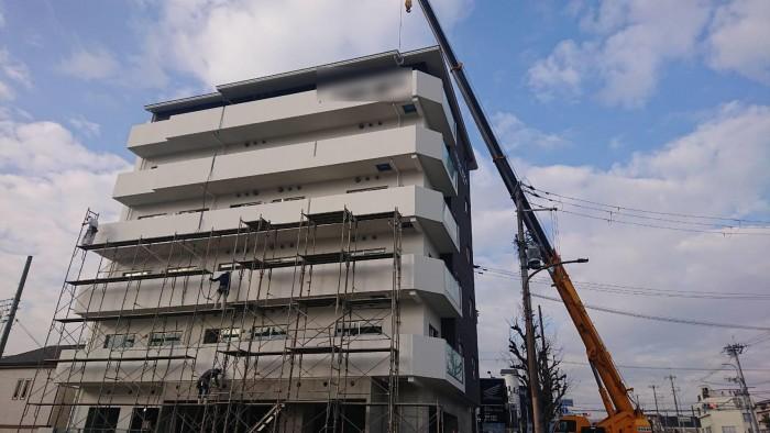 山科区椥辻の新築マンション足場解体作業7